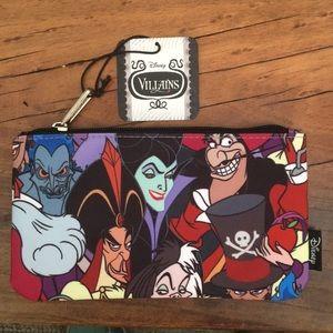 "Loungefly Bags - Disney Villains Zip-Top Case 4.5x8"" NWT"